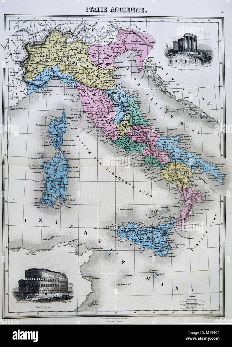1877 Migeon Map Ancient Italy during Roman Period with Vignettes