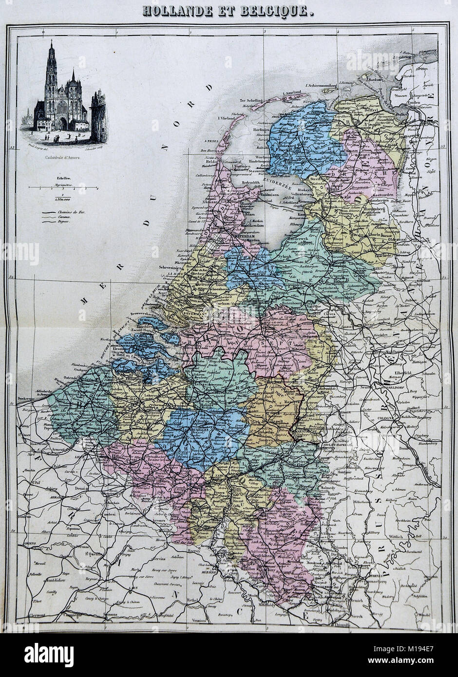 1877 Migeon Map Netherlands Holland Map Of
