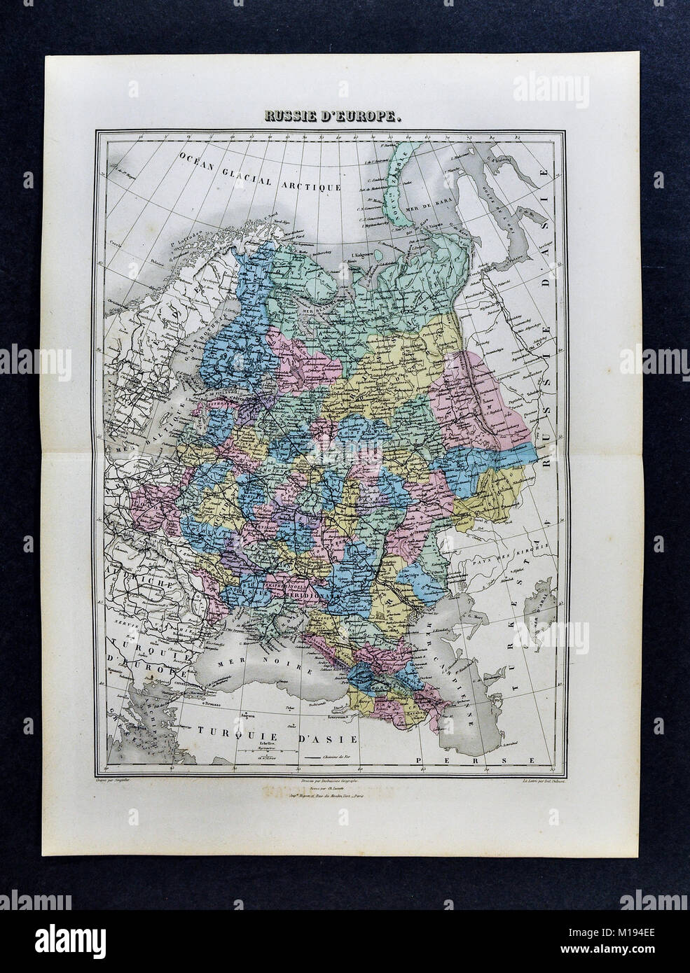 1877 Migeon Map Russia In Europe Moscow St Petersburg Finland
