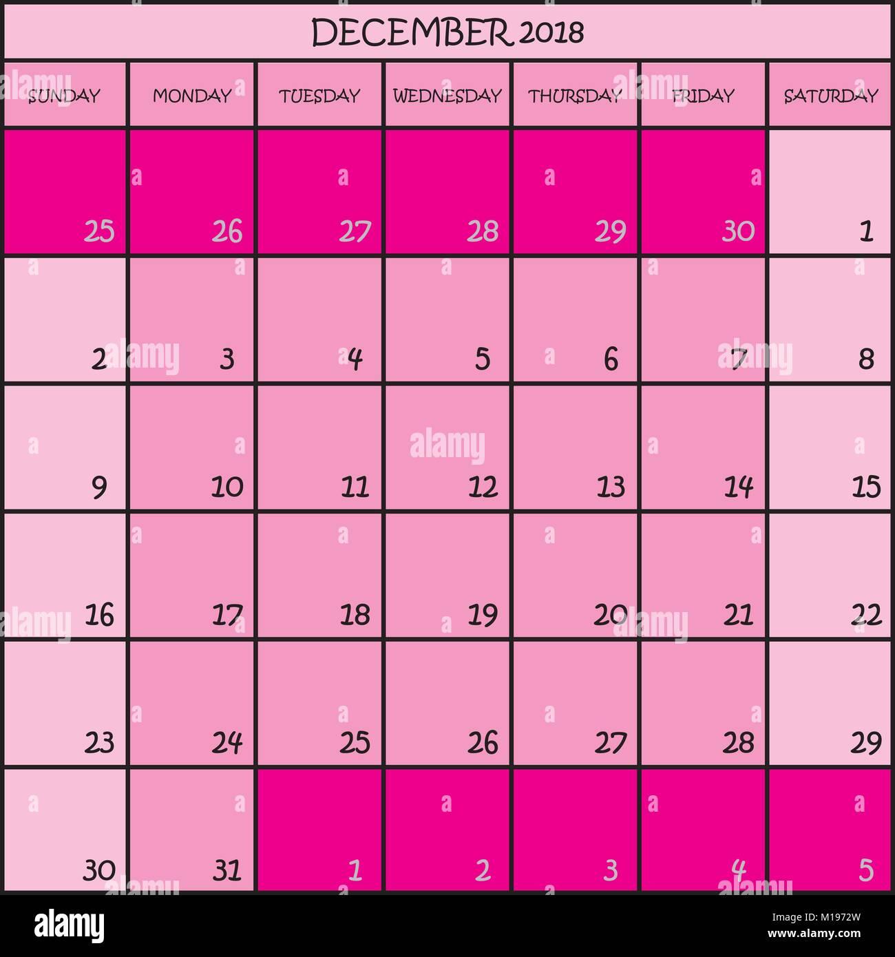 Calendar Planner Month December 2018 On Transparent Background Stock