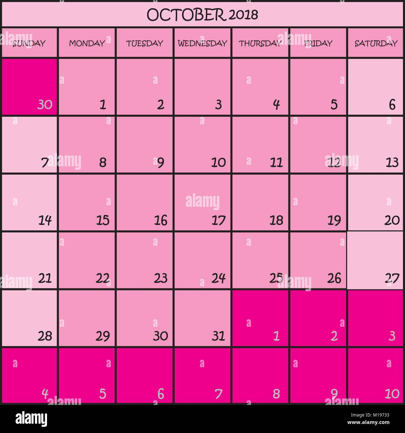 calendar planner october 2018 on transparent background