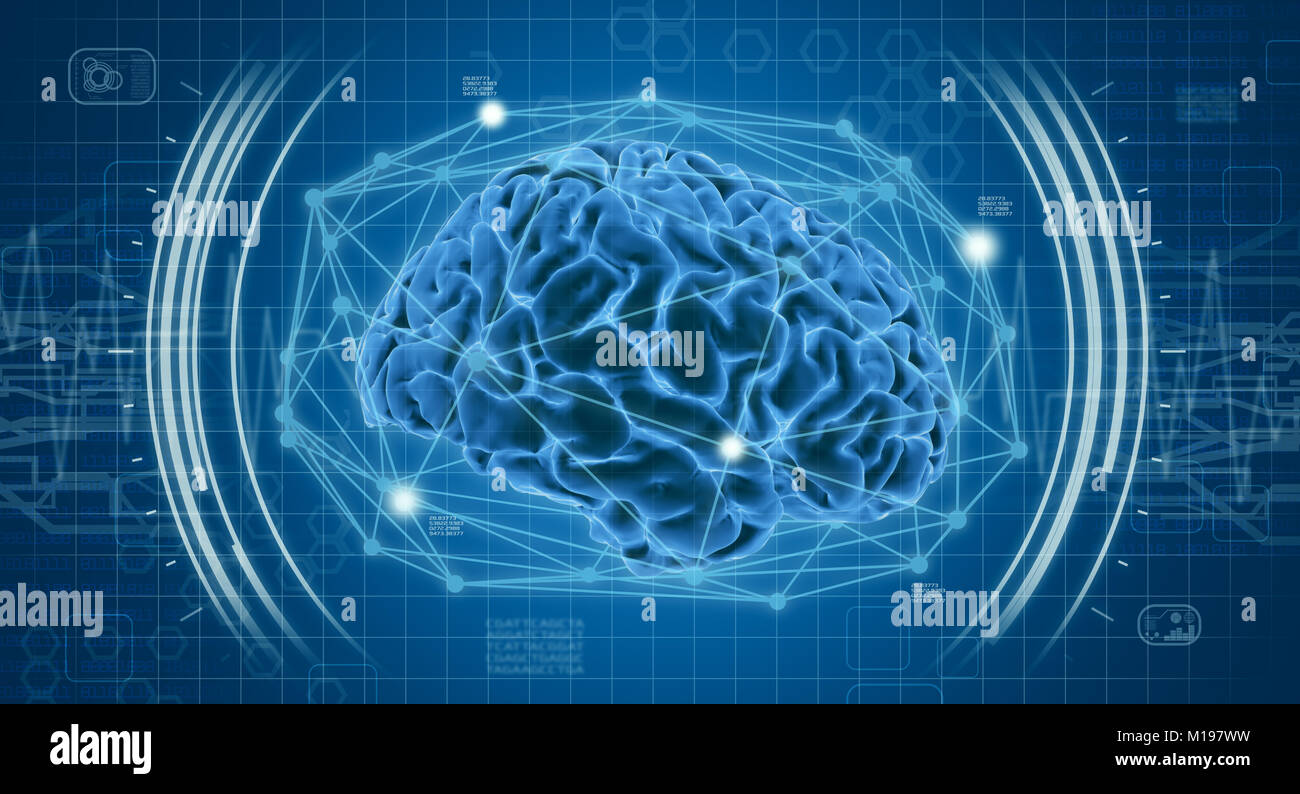 human brain with futuristic interface, concept of medical technology ...