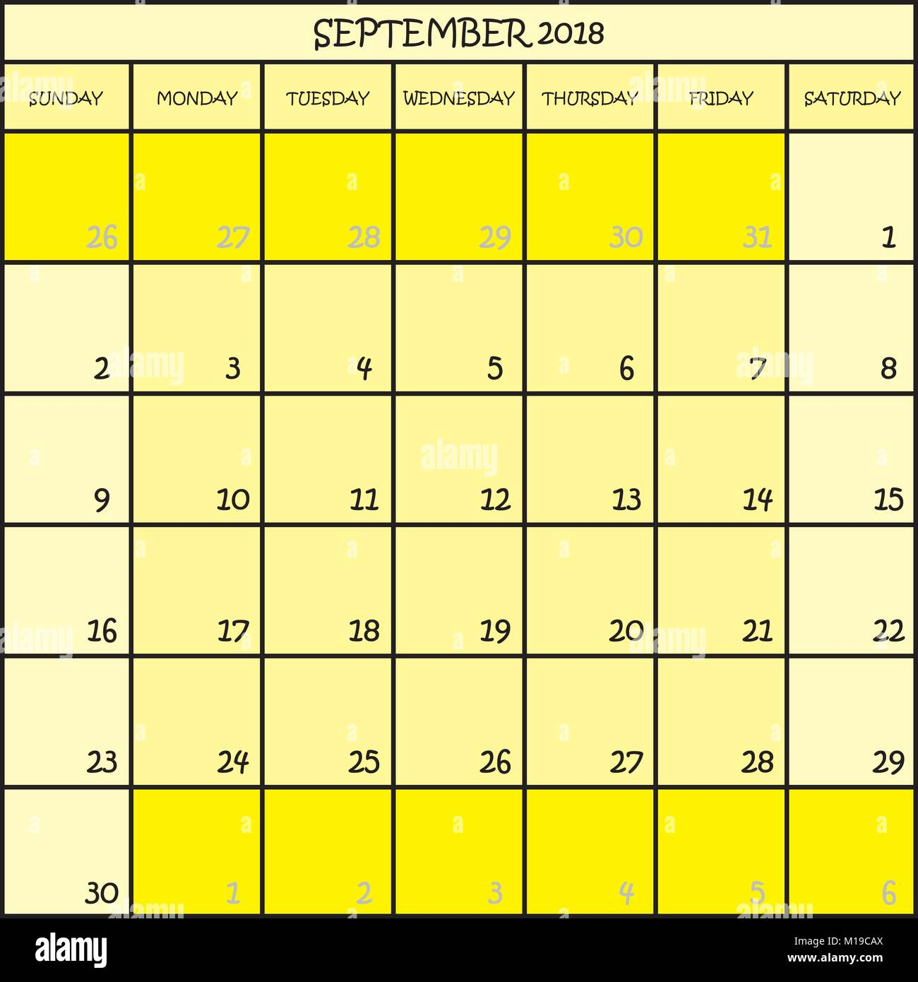 calendar planner month september 2018 on three shades of yellow color background
