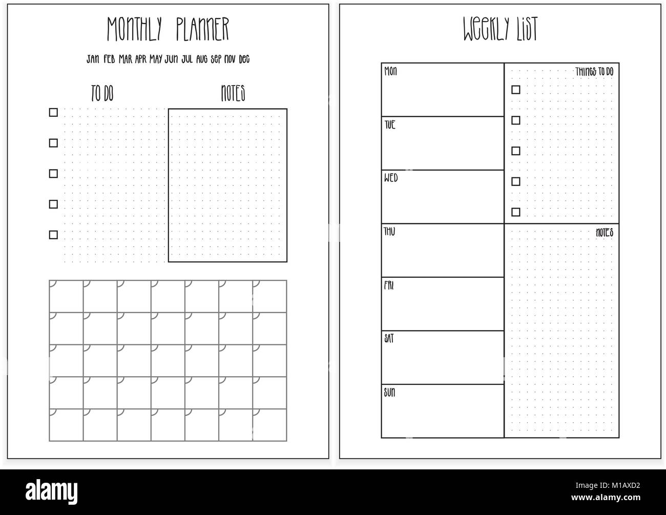 weekly planner monthly planner printable pages vector organizer