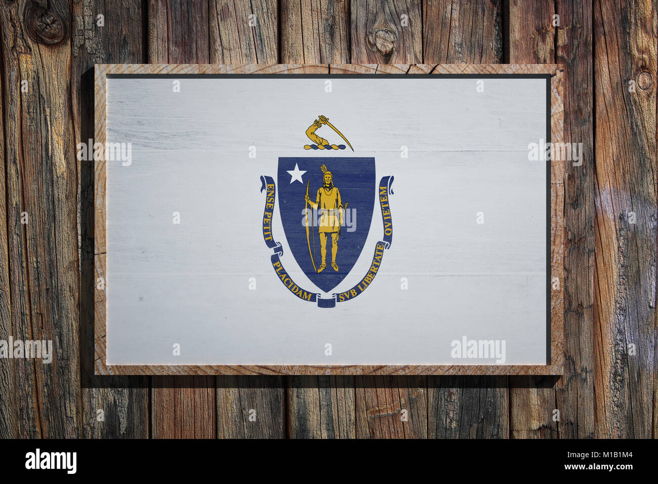 3d rendering of a massachusetts state usa flag on a wooden frame 3d rendering of a massachusetts state usa flag on a wooden frame and a wood wall buycottarizona