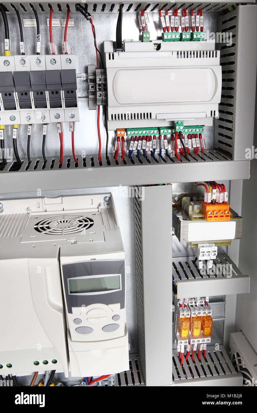Electrical background,voltage switchboard with circuit breakers ...