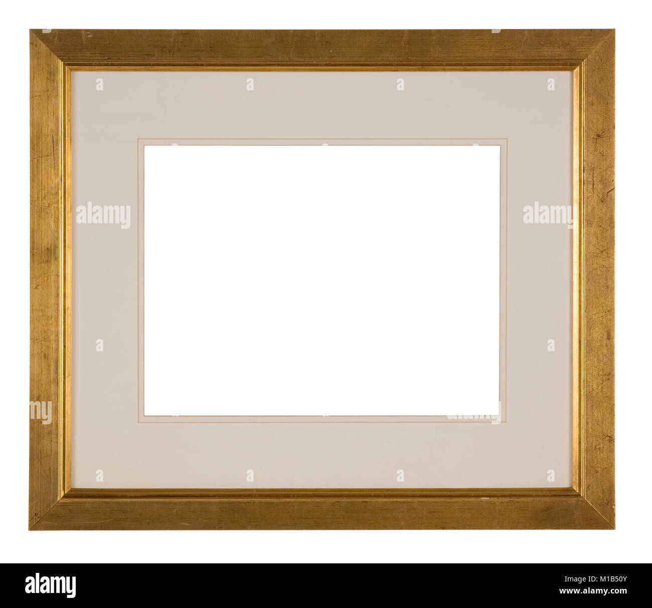 Large empty picture frame, distressed gold finish Stock Photo ...