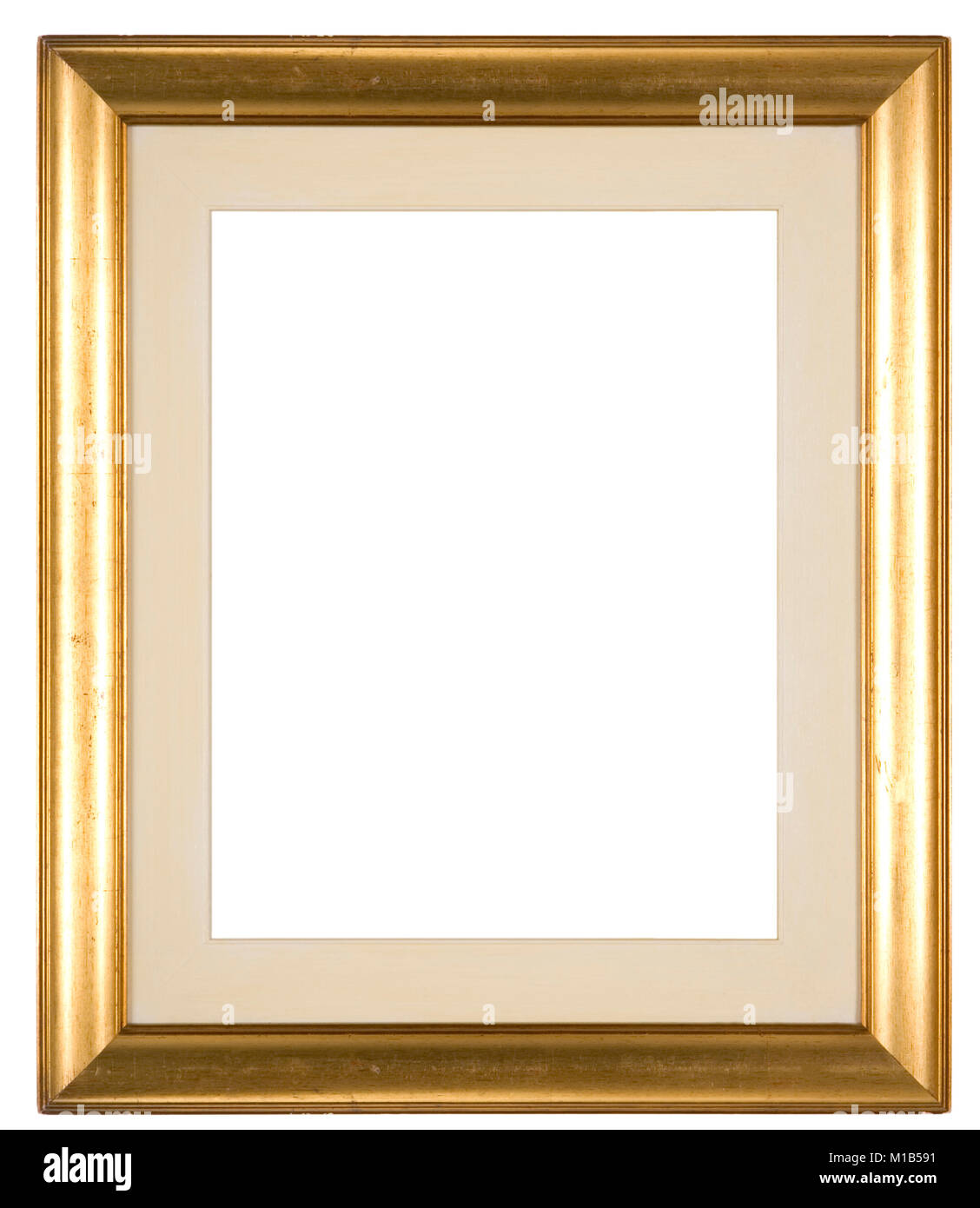 Large empty picture frame isolated on white with a distressed gold ...