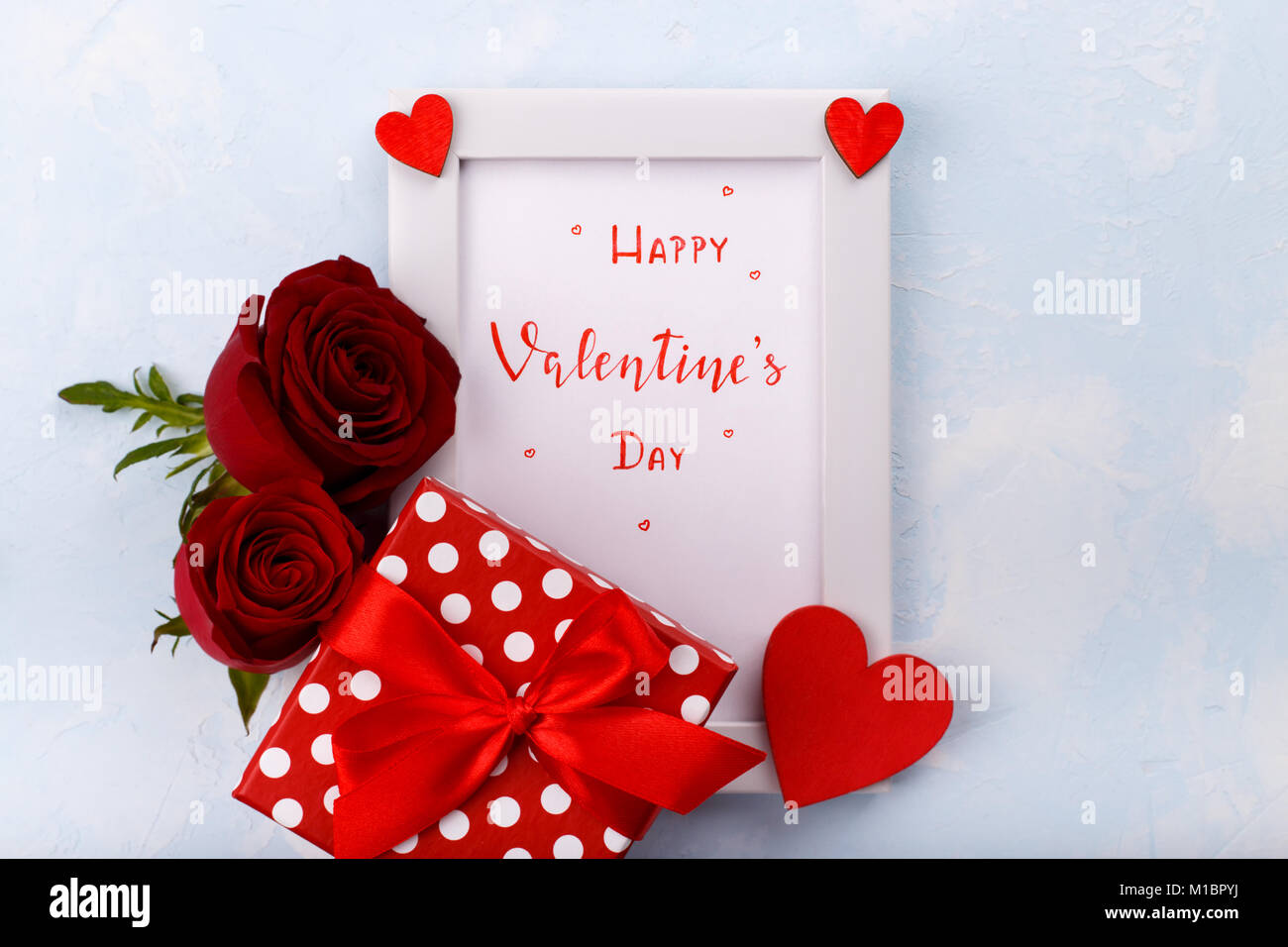 Happy Valentine S Day Wishing In A Frame With Red Hearts Red Roses