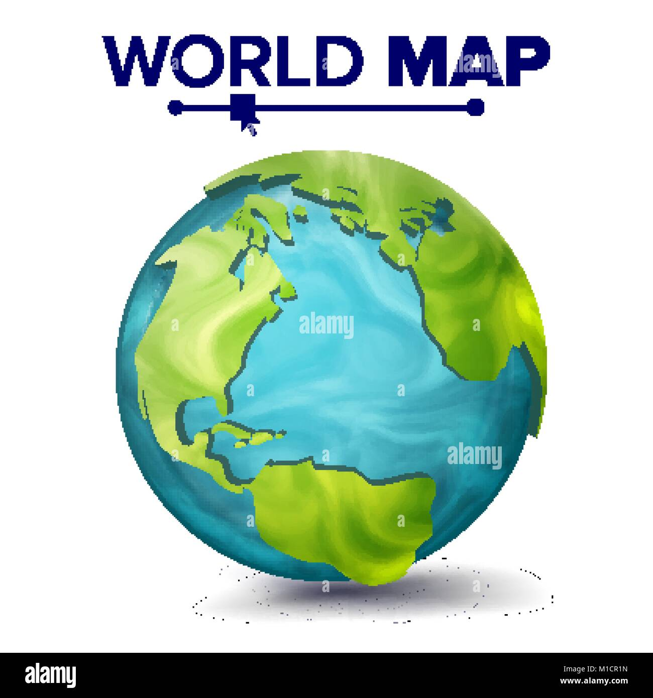 World map vector 3d planet sphere earth with continents north world map vector 3d planet sphere earth with continents north america south america africa europe isolated illustration gumiabroncs Choice Image