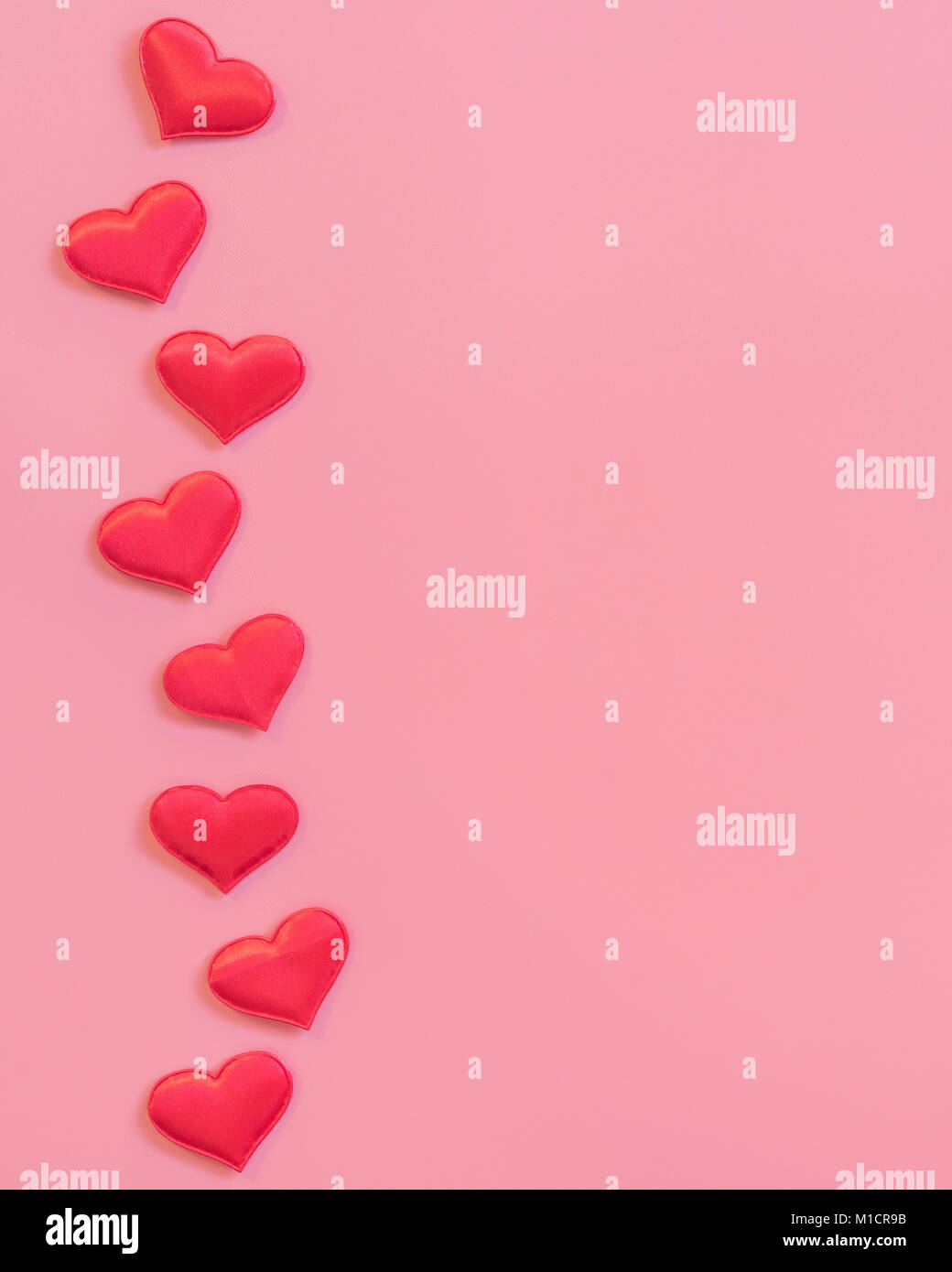 8ad1940a0939 Red heart on pink pastel color background with space for text Stock ...