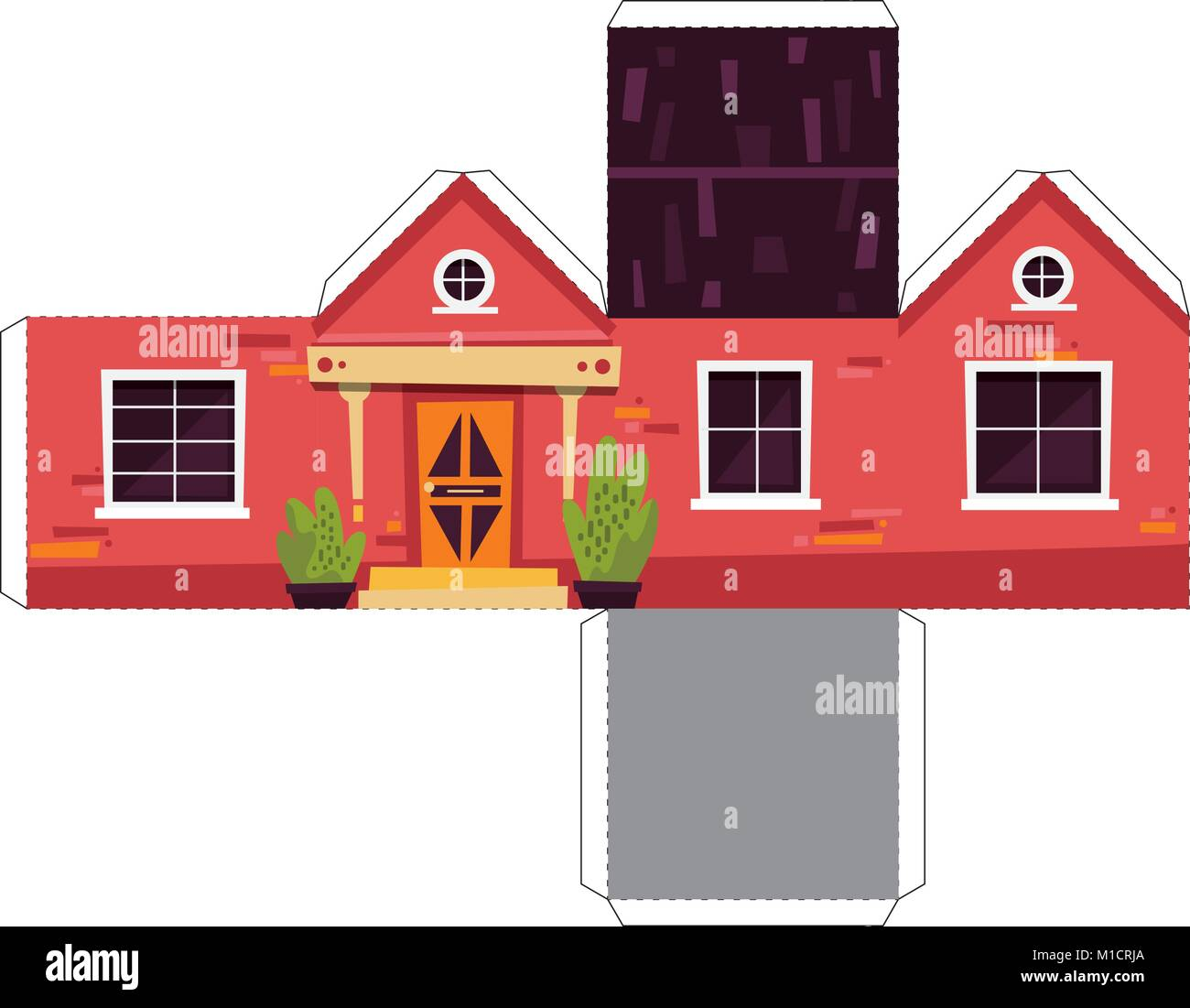 Make Your Own Toy House Paper Craft Vector Assembly Model Stock