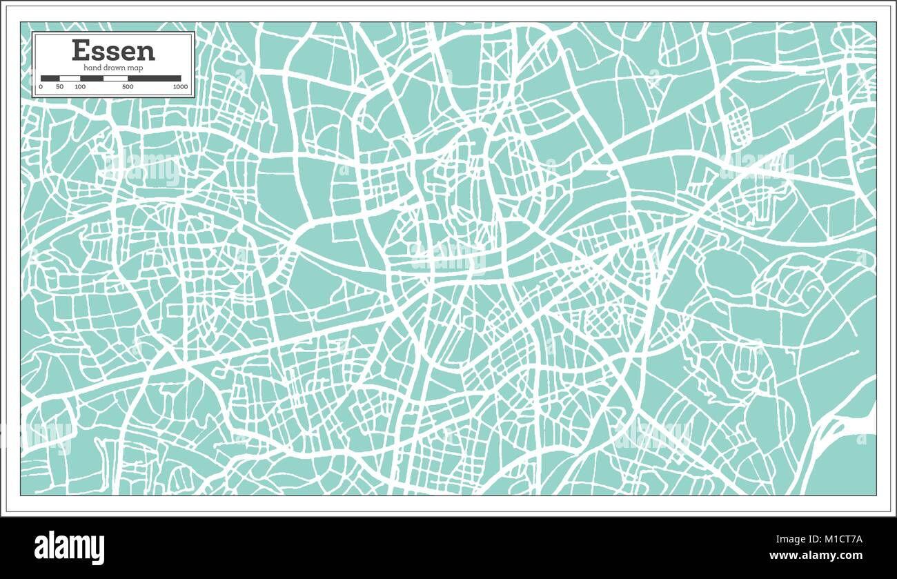 Essen Germany City Map In Retro Style Outline Map Vector Stock