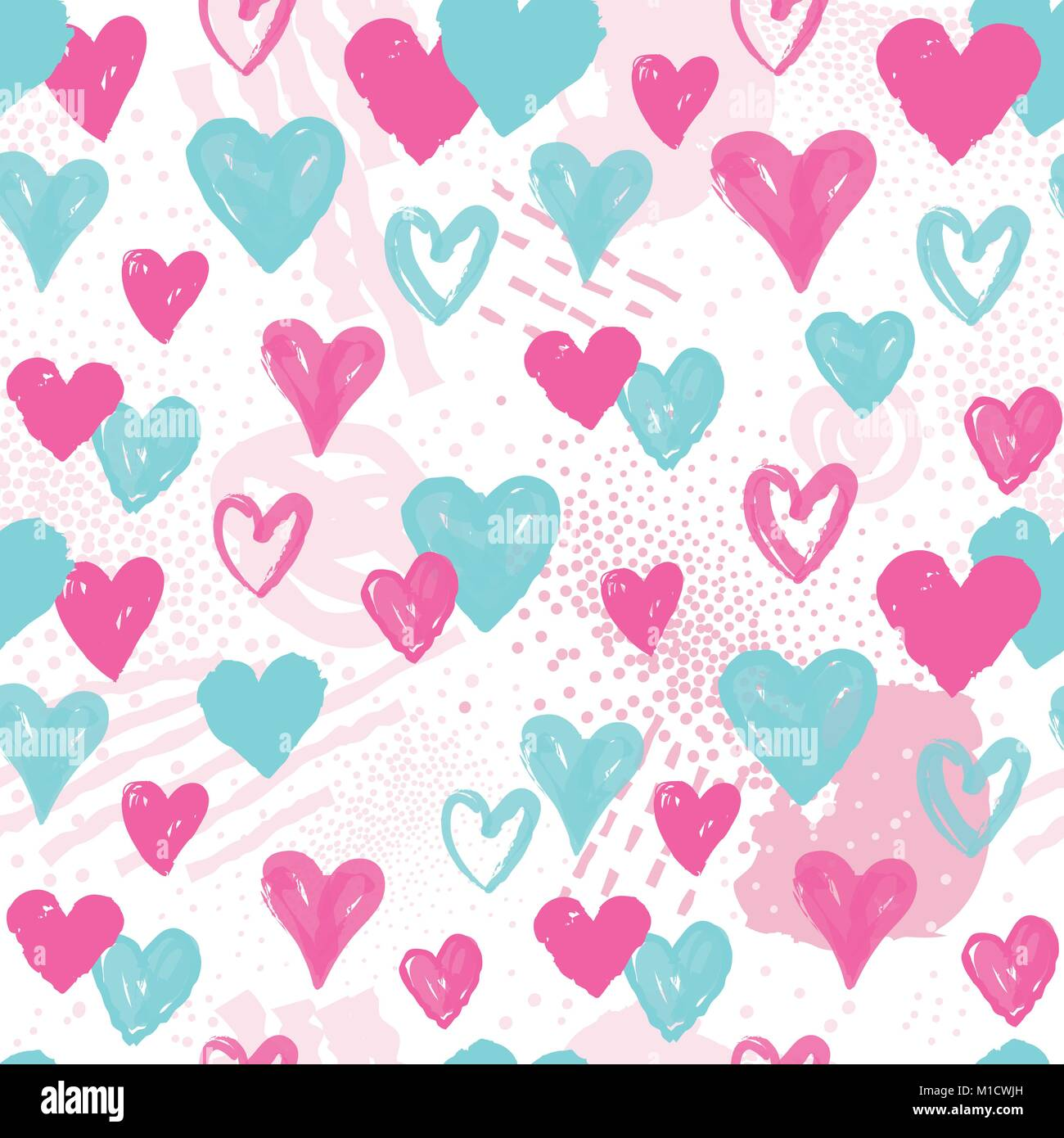 Love Heart Seamless Pattern Abstract Valentine Day Hand Drawn Background Holiday Ornamental Wallpaper