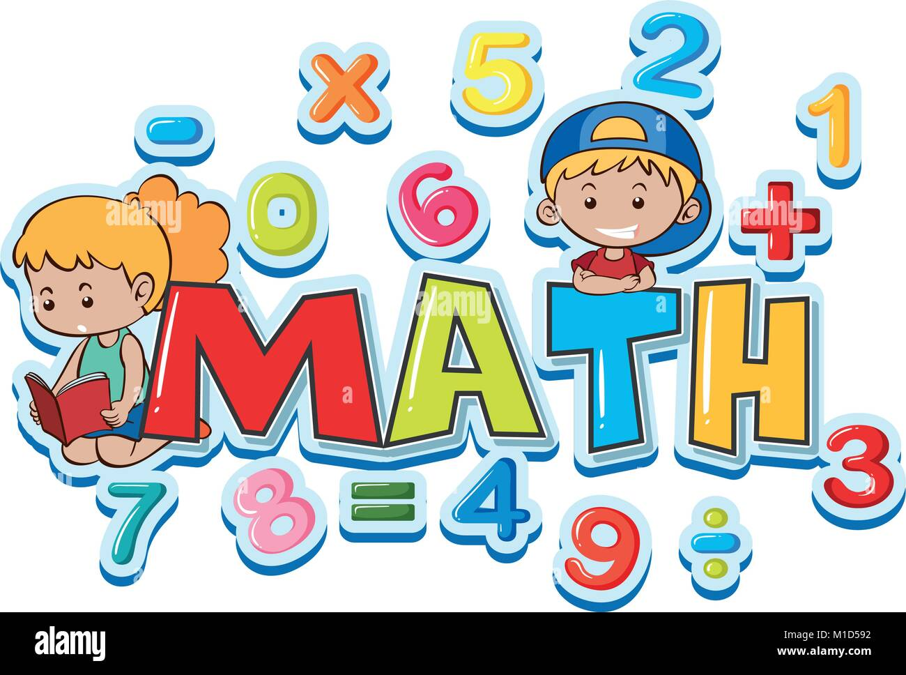font design for word math with many numbers and kids illustration