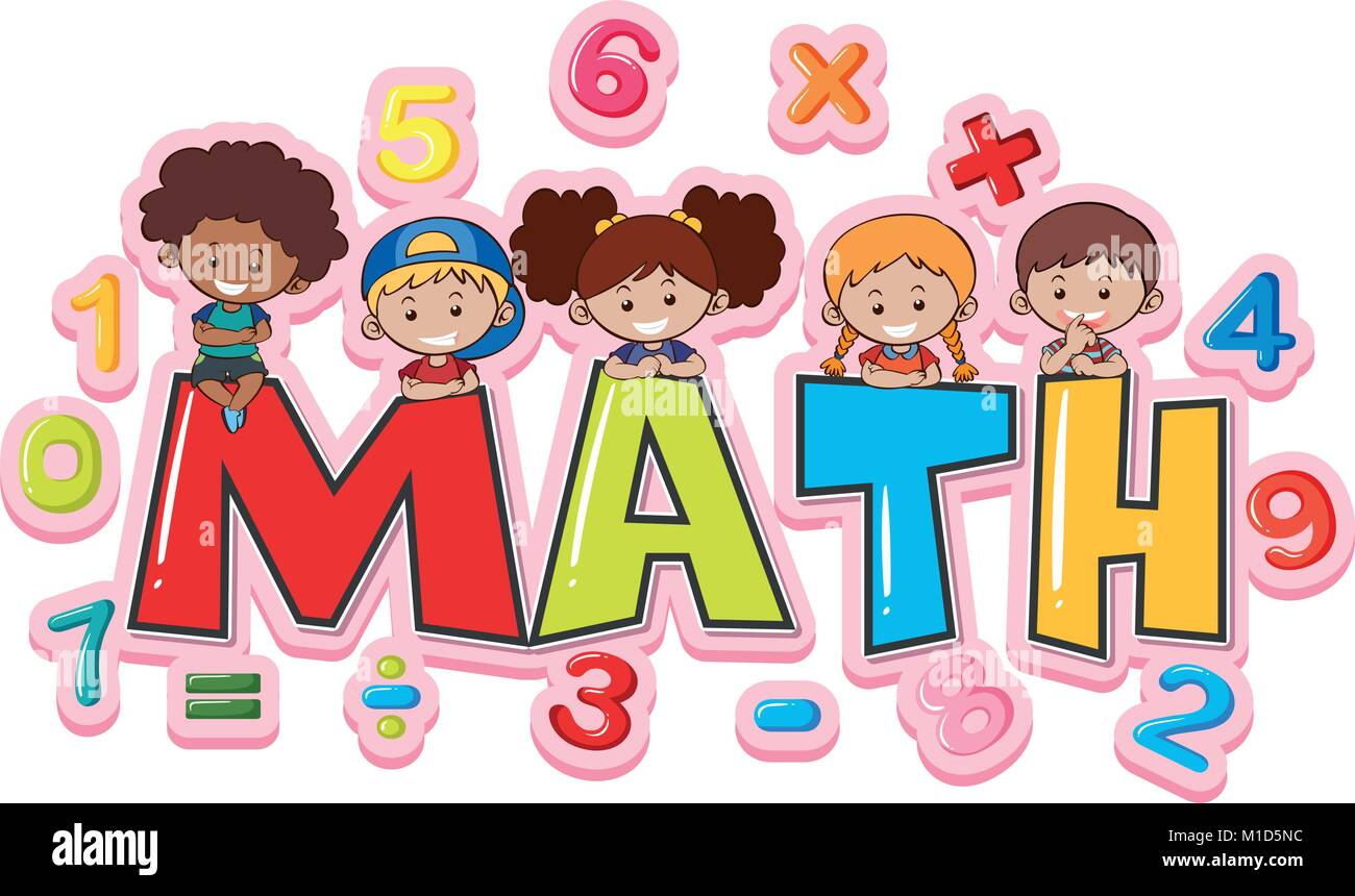 font design for word math with happy kids illustration stock vector