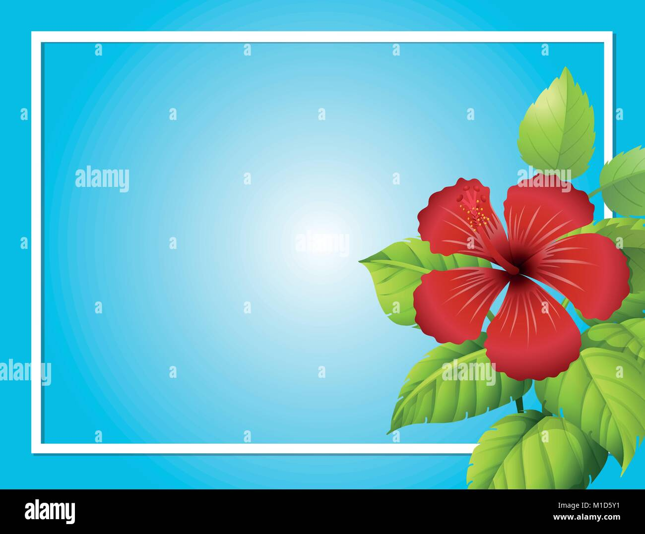 Blue background template with hibiscus flower illustration stock blue background template with hibiscus flower illustration izmirmasajfo