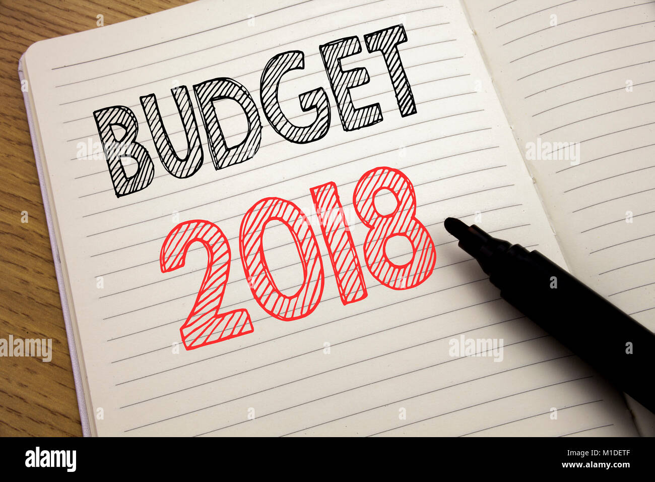 handwriting announcement text showing budget 2018 business concept