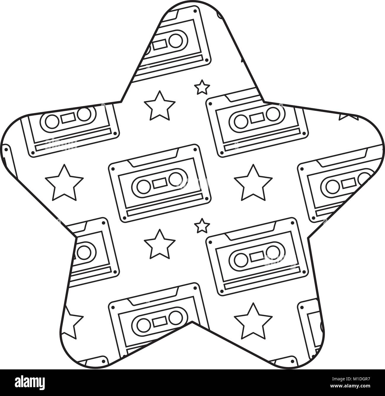 label shape star retro cassette tape recorder vector illustration
