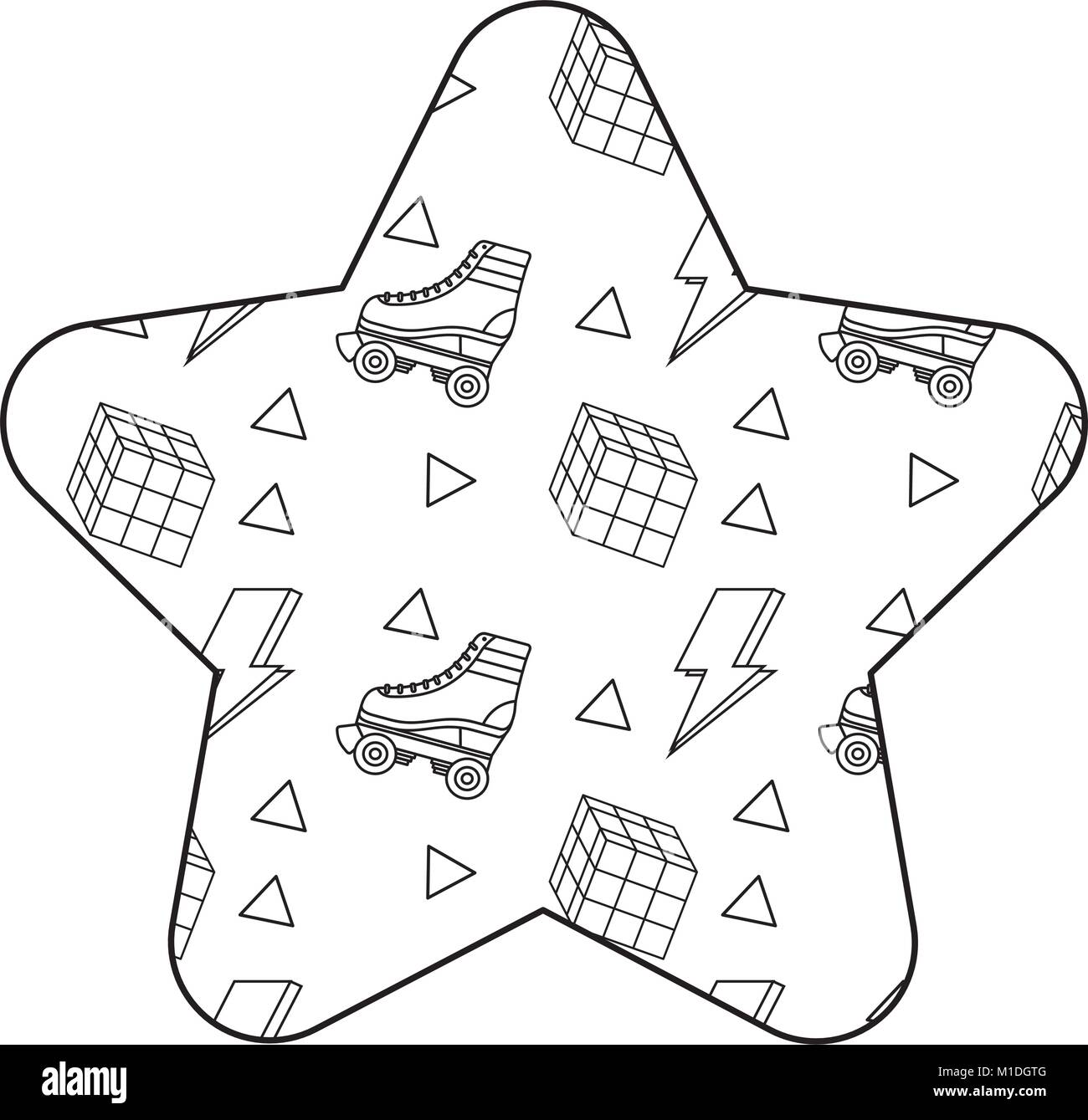 label shape star retro roller skate and rubik cube memphis vector