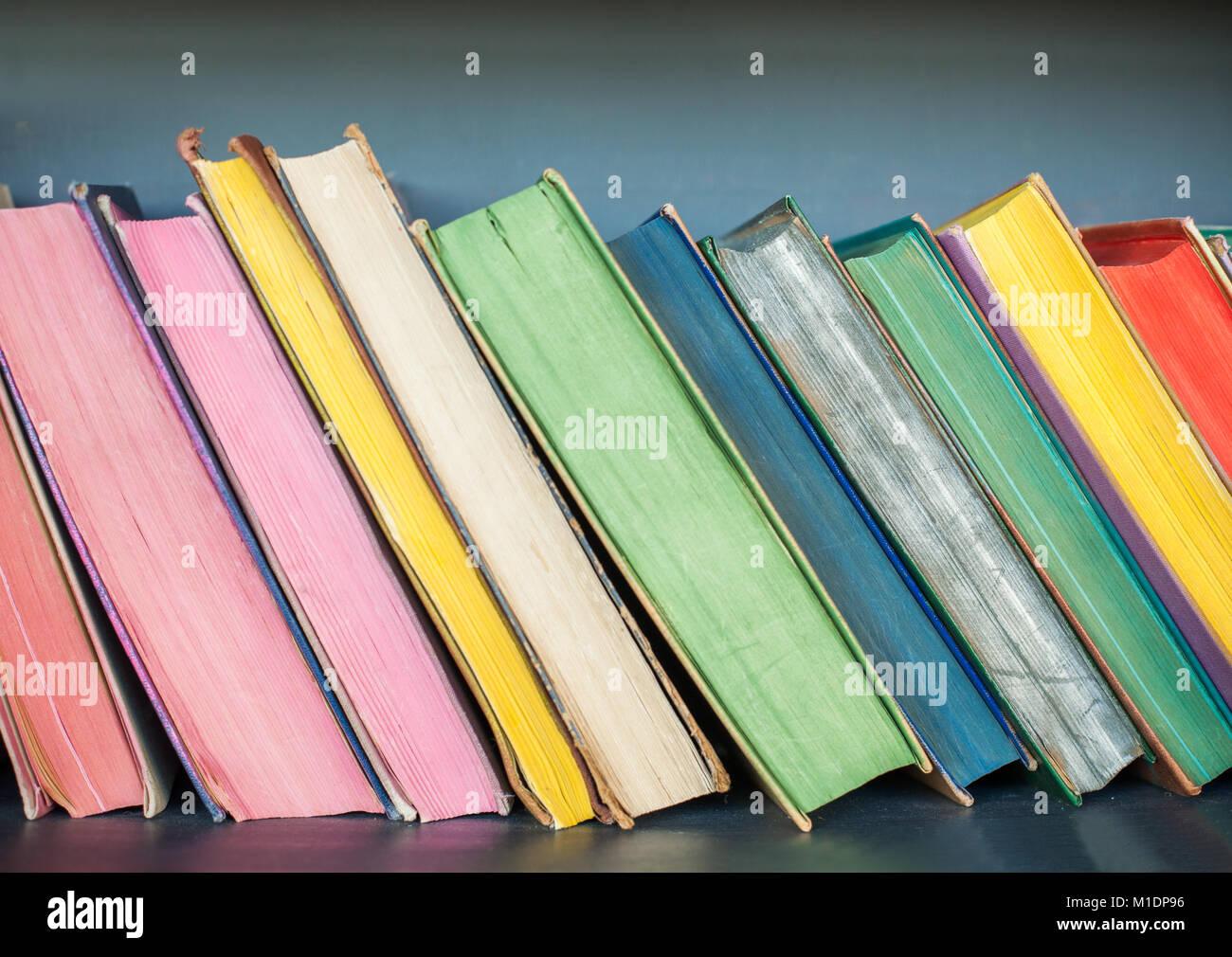 Colorful Books on the Shelf, Background. Bookshelves Stock Photo ...