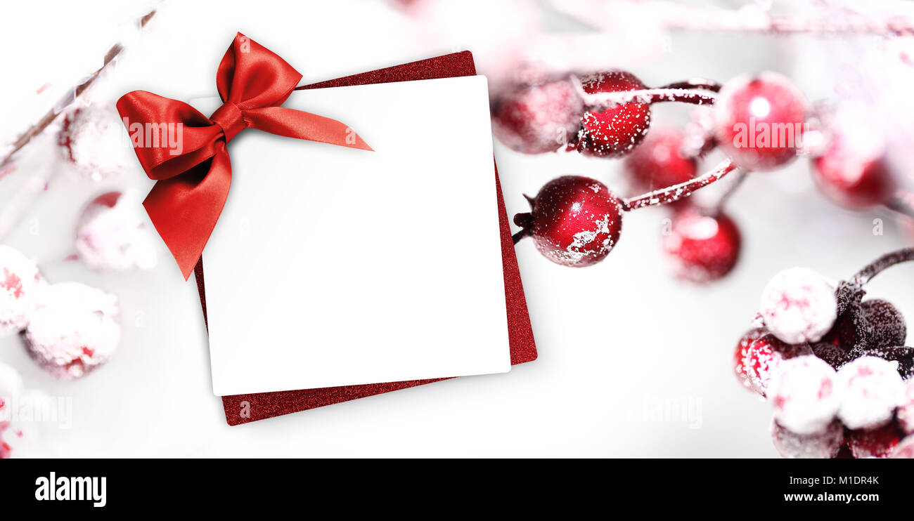 Christmas Greeting Gift Card With Red Ribbon Bow And Holly Berries