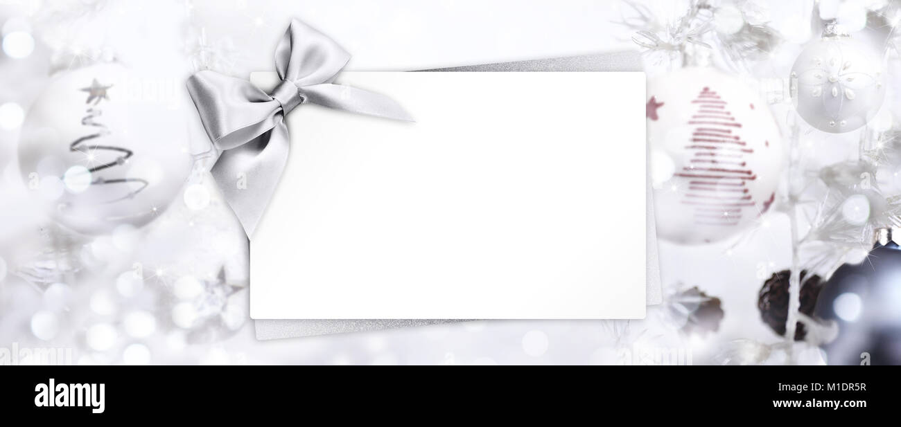 Christmas Greeting Gift Card With Silver Ribbon Bow And Balls Background Template White Copy Space