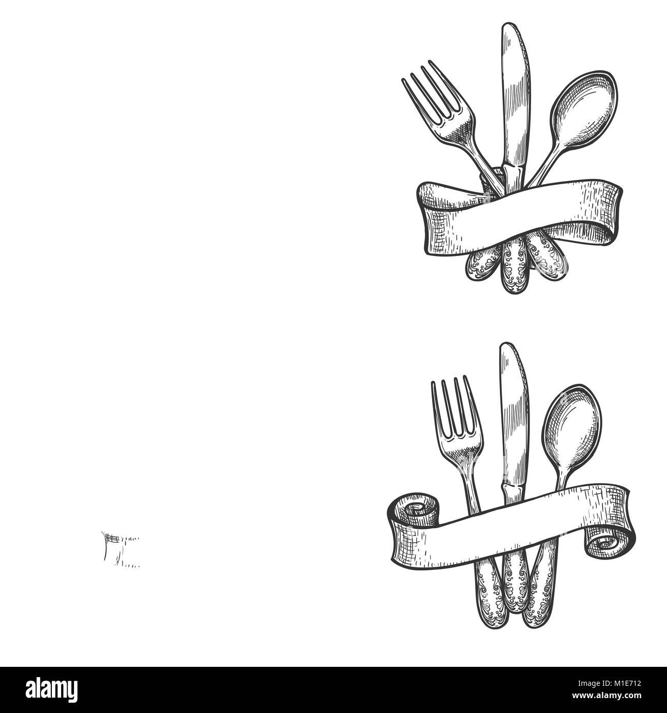 Cutlery sketch. Vintage dinner table silverware set with knife and ...