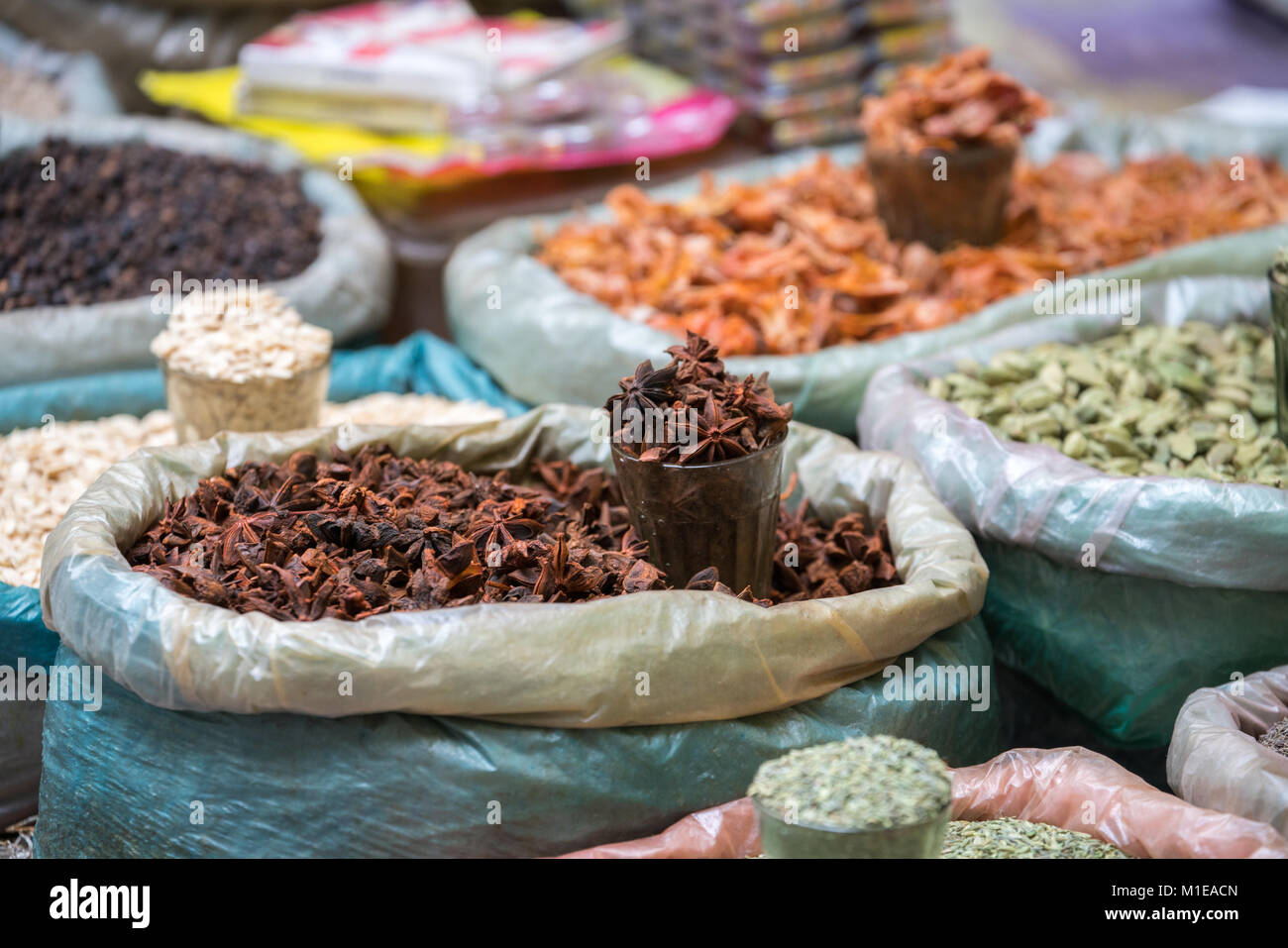 Various of Indian colored powder spices and dry ingredient food on ...