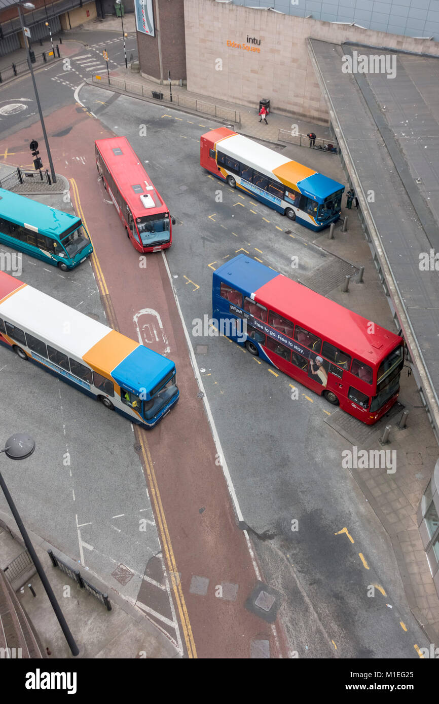 Busses In Eldon Square Bus Station Newcastle Upon Tyne Tyne And Wear Uk