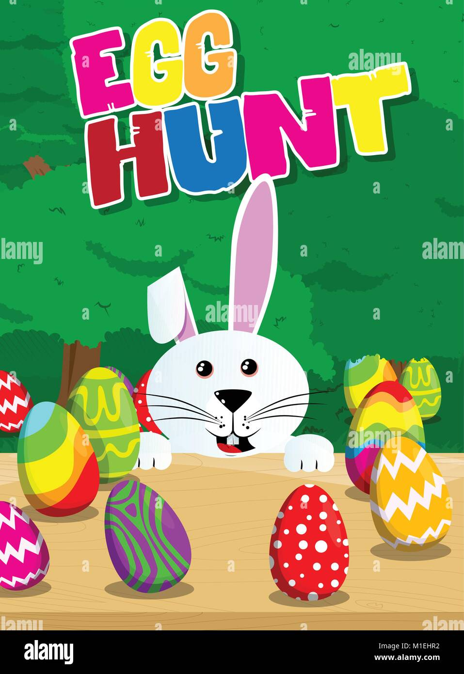egg hunt invitation easter bunny with colored eggs on a desk and the background vector cartoon character illustration