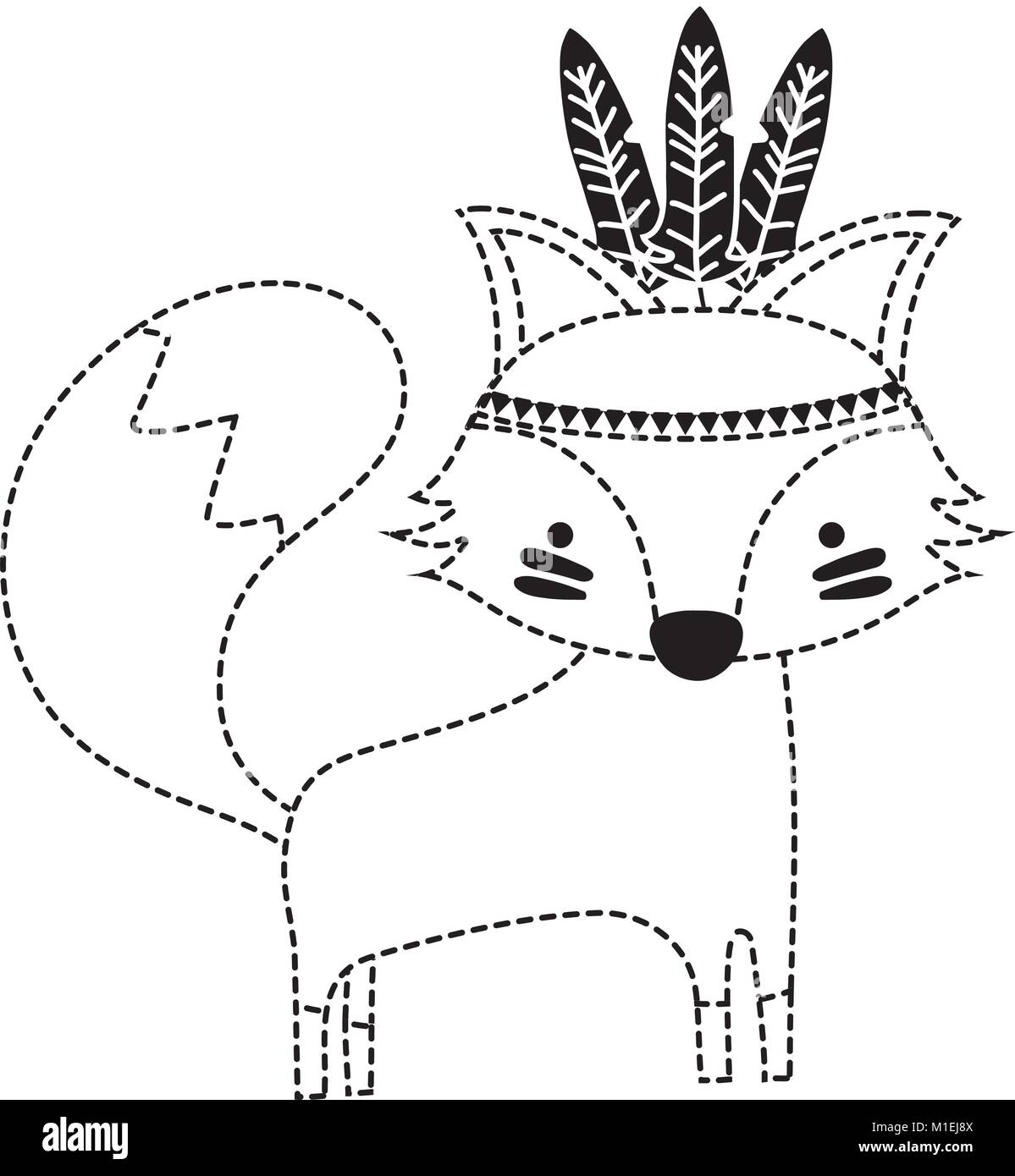 dotted shape cute fox animal with feathers design vector ...