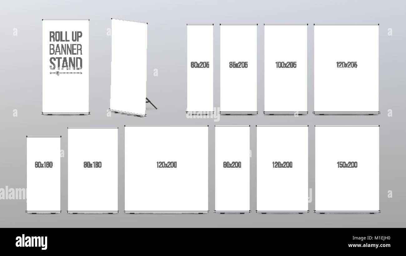 roll up banner stand vector pop up flipchart for promotional stock