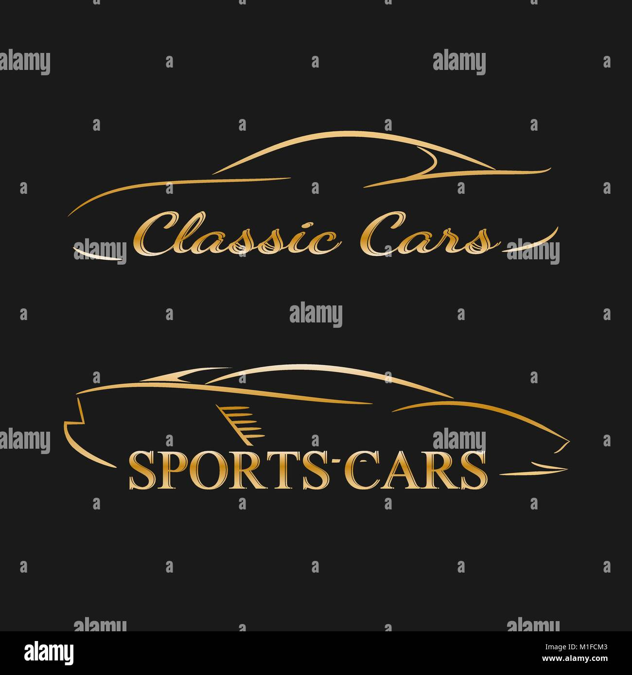 Golden Car Silhouettes On A Dark Background Luxury Cars Vector