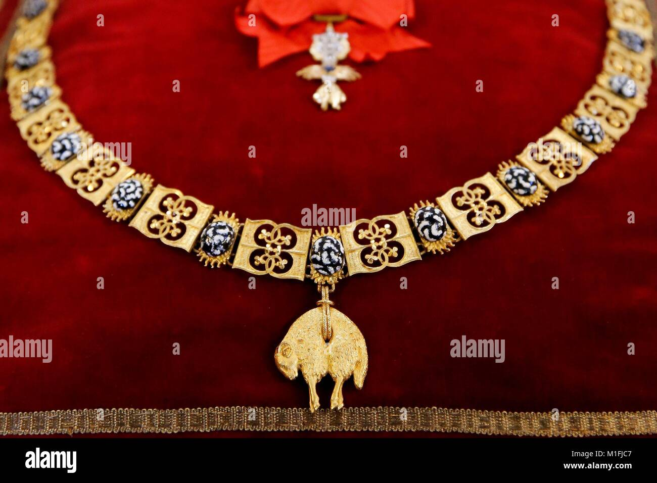 Order of the golden fleece stock photos order of the golden detail of the order of the golden fleece that king felipe vi of spain has awarded biocorpaavc Choice Image