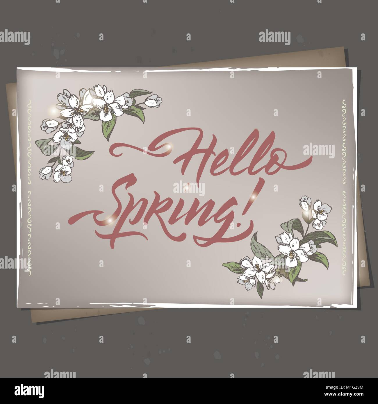 Color A4 Format Romantic Vintage Greeting Card Template With Spring Related  Brush Calligraphy And Jasmine Flower  Greeting Card Format