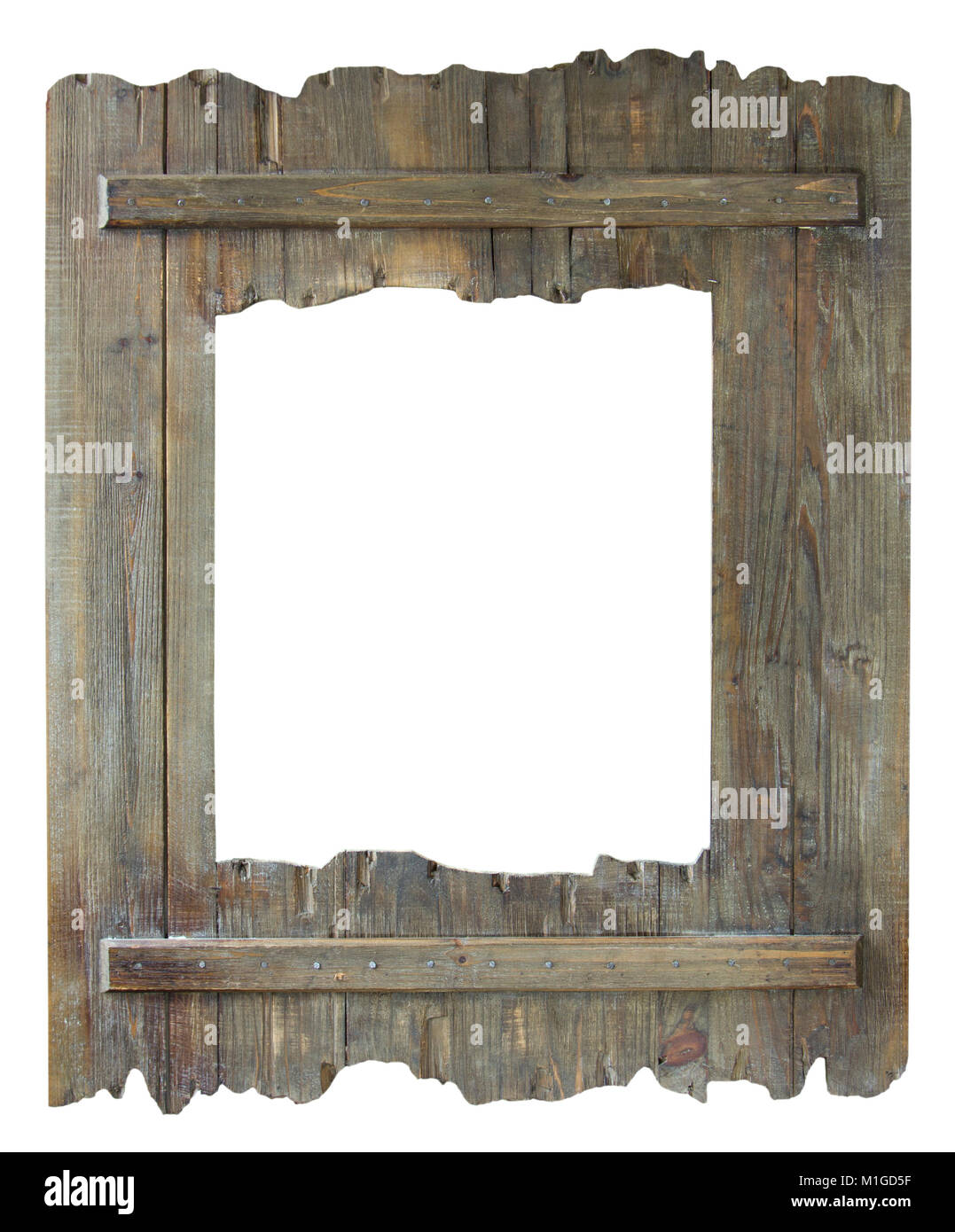 Empty picture frame isolated on white in a shabby chic reclaimed ...