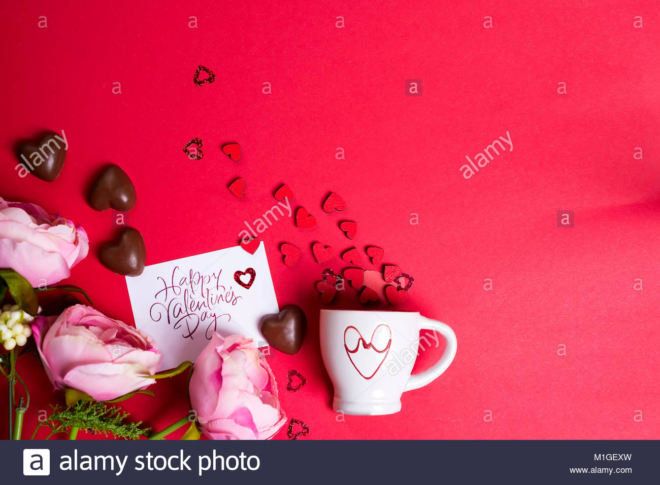 Delicious Chocolate Candies Flowers With Card And Cup With Wooden