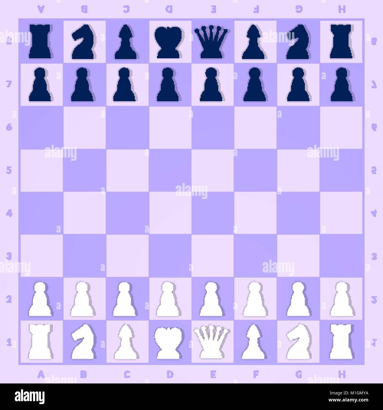 Chess Game Start Setup Chessboard Pattern Background Stock Vector
