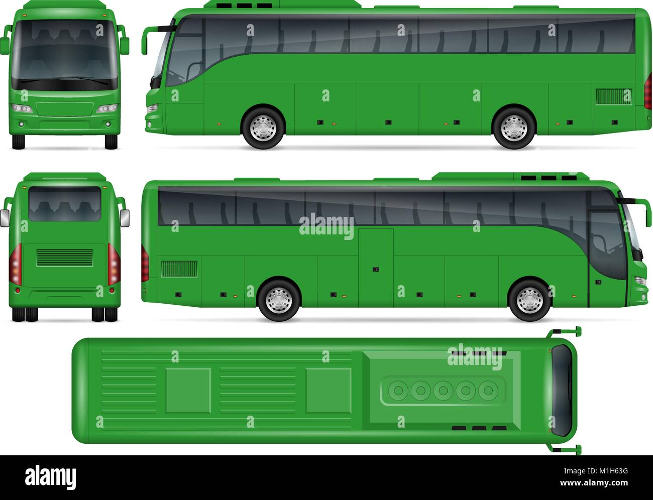 green bus vector mock up for advertising corporate identity stock