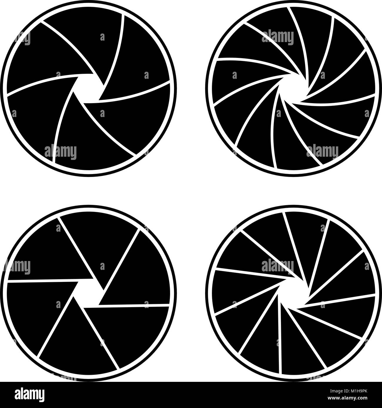 Closed Aperture With 611 Blades And Different Styles Stock Vector