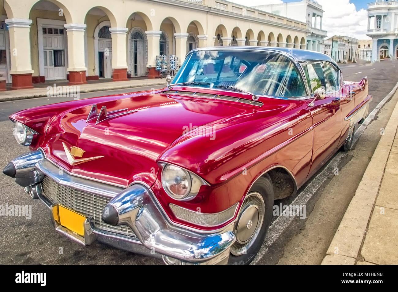 Cienfuegos , CUBA - 22 MARCH 2012 : Red Old retro Car on authentic ...