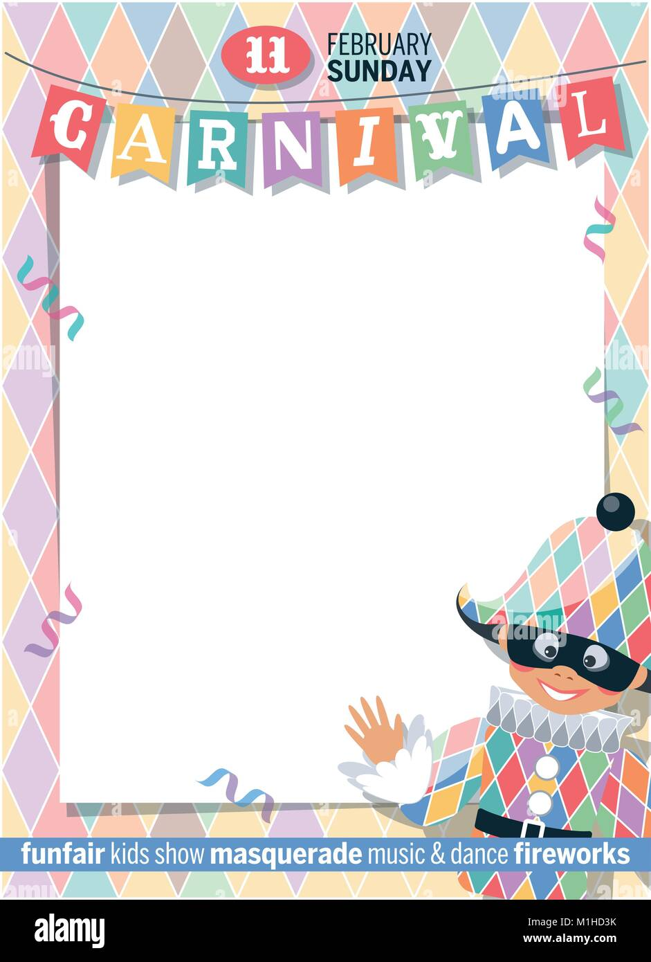 template carnival poster with harlequin cute cartoon character