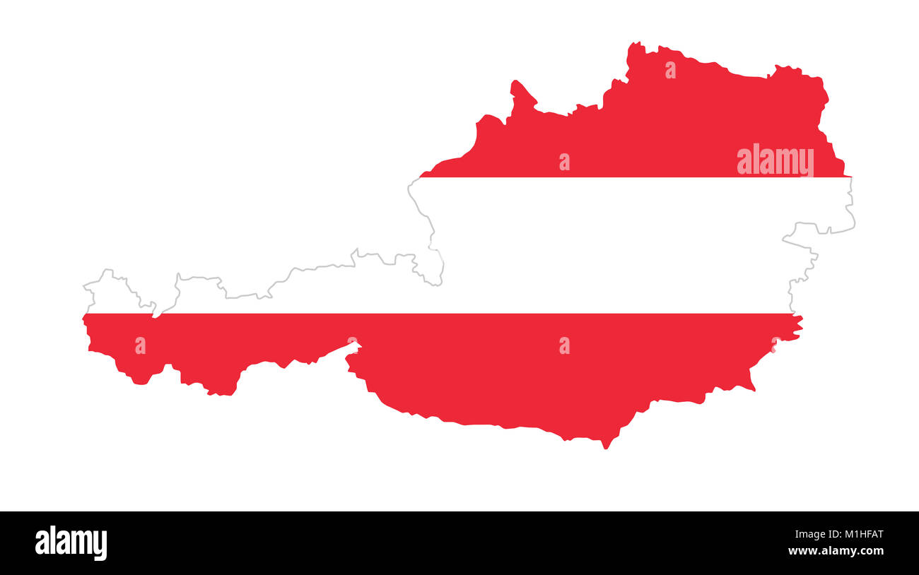 republic of austria flag in country silhouette landmass and borders
