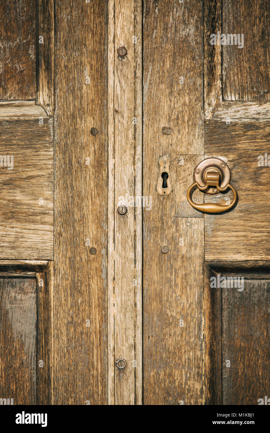 Part Of An Antique Doors With A Handle And A Key Hole At The Castletown  House In Celbridge, Co. Kildare, Ireland