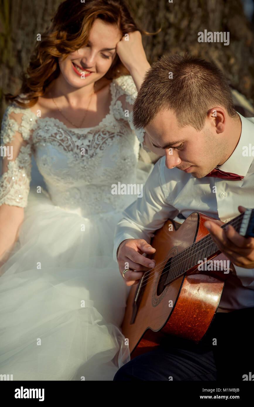 Beautiful bride play beautiful