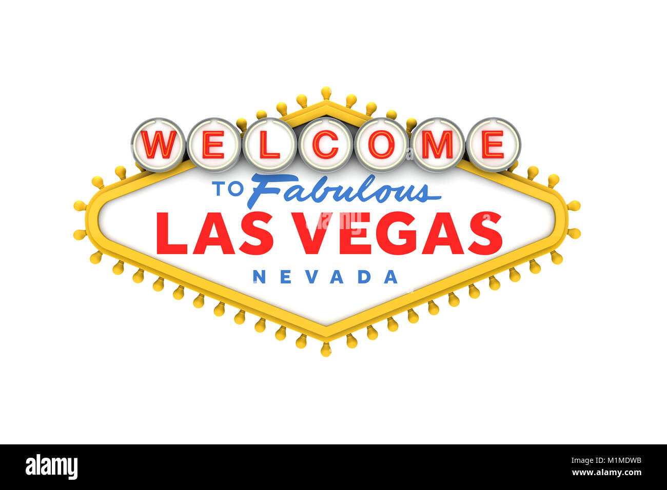 Welcome to Las Vegas classic sign. 3D Rendering Stock Photo, Royalty ...