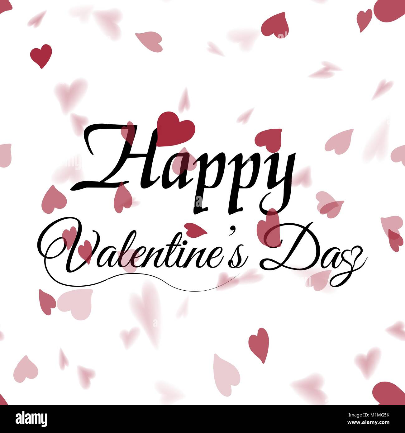Valentines Greeting Card With Falling Red Hearts On White Vector