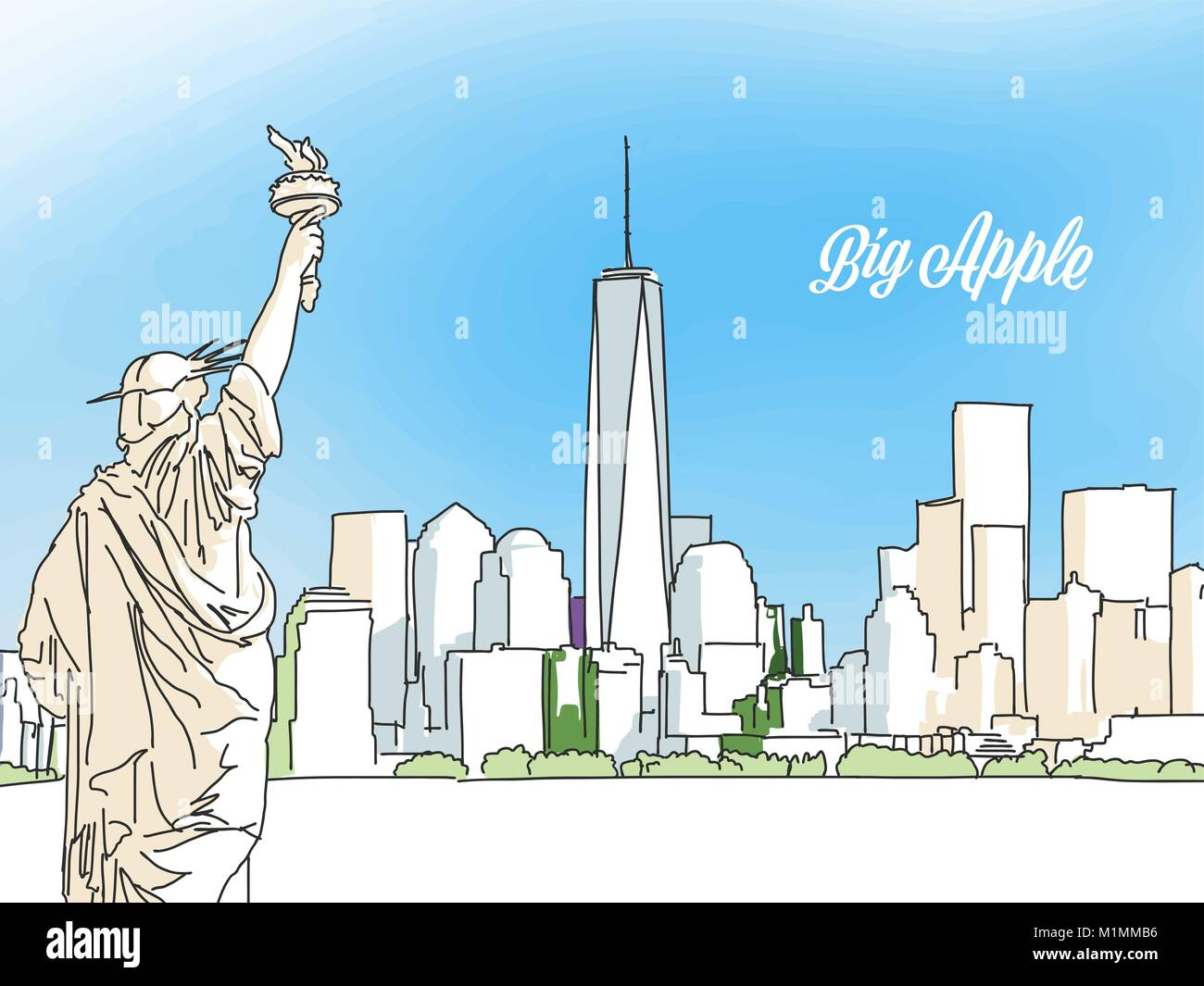 New york big apple panorama banner layout for greeting card and new york big apple panorama banner layout for greeting card and banner design marketing sketch m4hsunfo