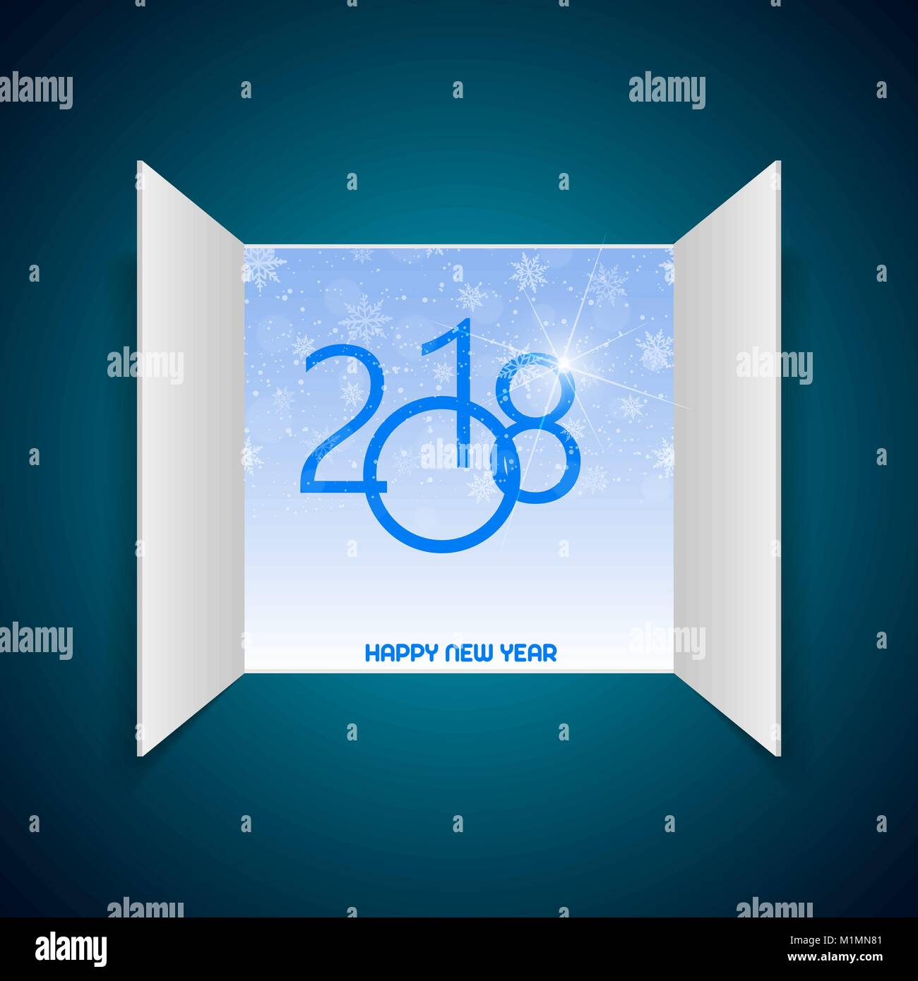 Happy new year greeting card with opened window and snow on blue happy new year greeting card with opened window and snow on blue background 2018 vector kristyandbryce Images
